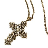 Sweet Romance Vintage Crystal and Pearl Cross Victorian Wedding Necklace