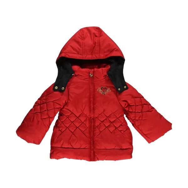 London Fog Girls Winter Heart Insulated Red Jacket