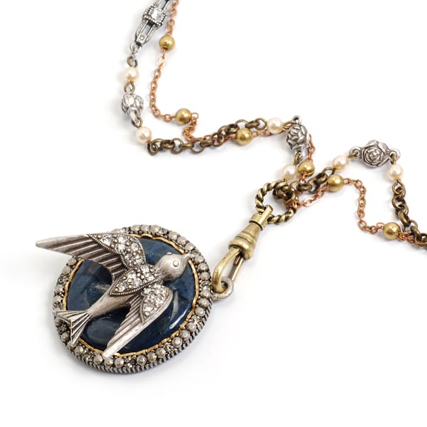 Sweet Romance Swallow In the Night Sky Necklace