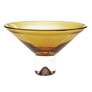 Amber Monaco Badash European Mouth Blown Lead Free Glass Centerpiece Bowl