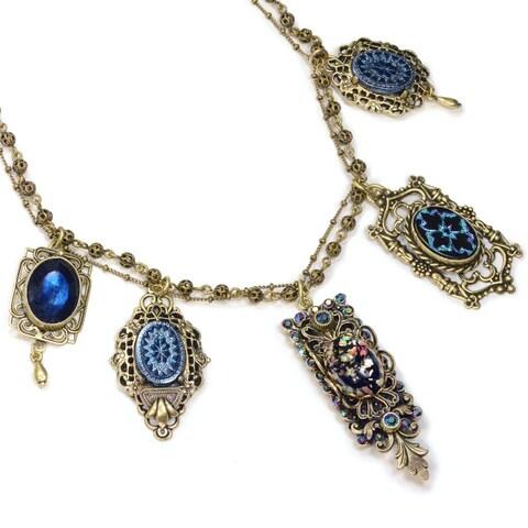 Sweet Romance Vintage Peacock Iridescent Blue Purple Statement Necklace