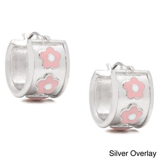 Molly and Emma 14k Gold Overlay or Silverplated Pink Flower Hoop Earrings (2 options available)