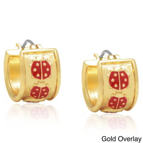 Molly and Emma 14k Gold Overlay or Silverplated Red Ladybug Hoop Earrings
