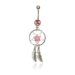 14G Surgical Steel Feather Dream Catcher Belly Ring with Bling
