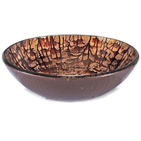 Brown/ Tan Splatter Glass Sink Bowl
