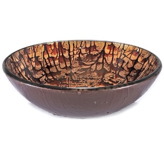 Brown/ Tan Splatter Glass Sink Bowl
