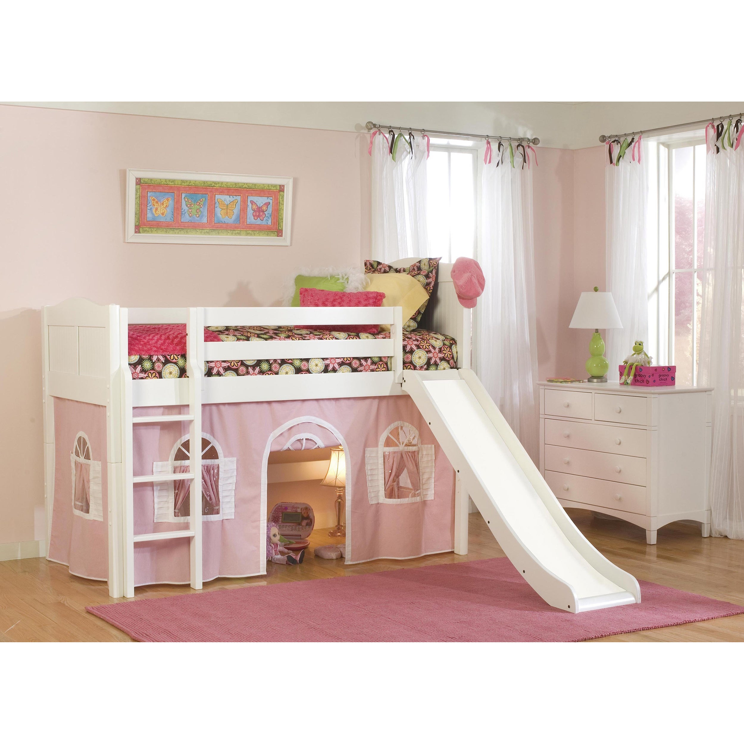 Bolton White Low-Loft Twin Playhouse Bed with Slide and L...