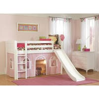 White Low-Loft Twin Playhouse Bed with Slide and Ladder