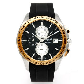 Tissot Men's 'Veloci-T' Black Rubber Chronograph Watch