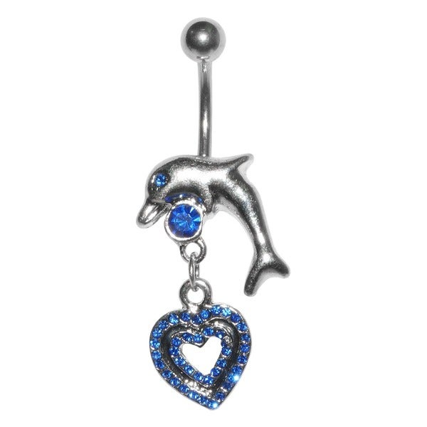 Supreme Jewelry 14G Surgical Steel Dolphin and Hearts Bling Belly Ring
