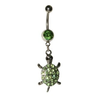 Supreme Jewelry 14 G Stainless Steel Turtle Charm with Bling Belly Ring