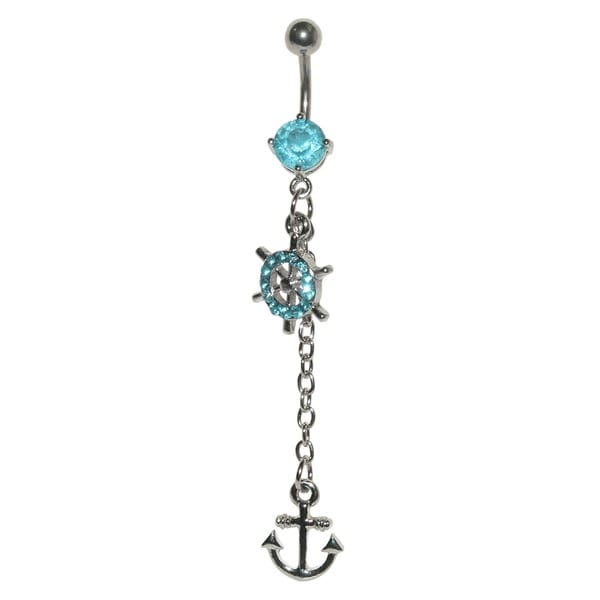 Supreme Jewelry 14G Surgical Steel Nautical Wheel & Anchor with Bling Belly Ring