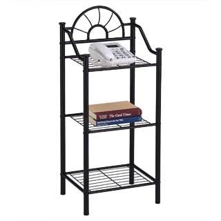 3-tier Metal Black Finish Bookshelf Accent Phone Table