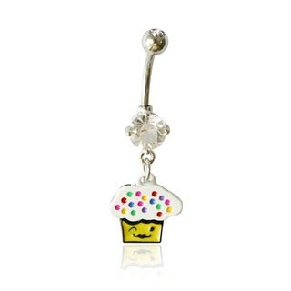 Supreme Jewelry 14G Surgical Steel Winking Cupcake Belly Ring