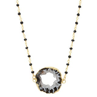American Coin Treasures Gold Agate Slice Double Bail Layered 30-inch Black Spinel Chain Necklace