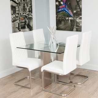 Brushed Stainless Steel Square Glass Dining Table