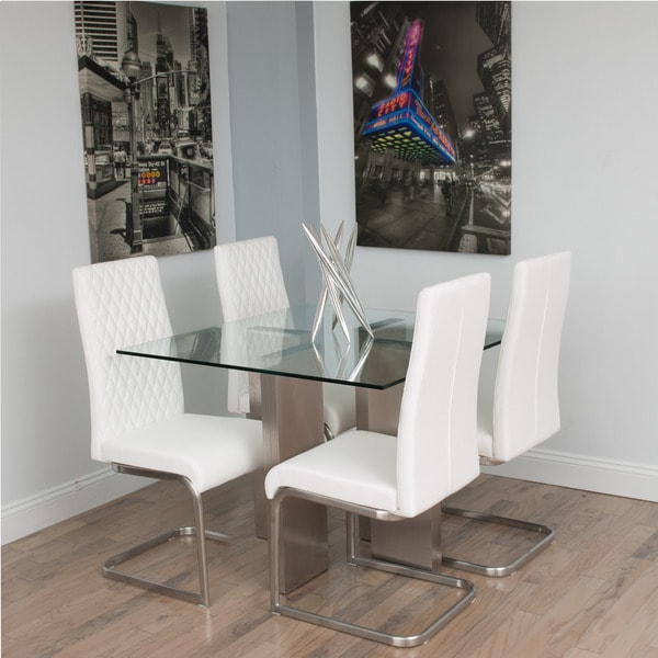 Brushed Stainless Steel Square Glass Dining Table Free