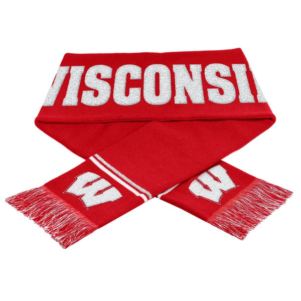 Forever Collectibles NCAA Wisconsin Badgers Woven Metallic Scarf