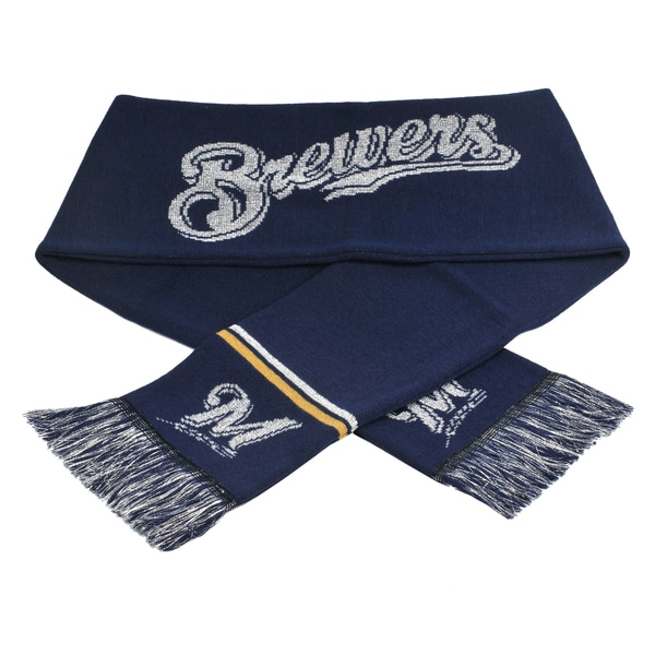 Forever Collectibles MLB Milwaukee Brewers Woven Metallic Scarf