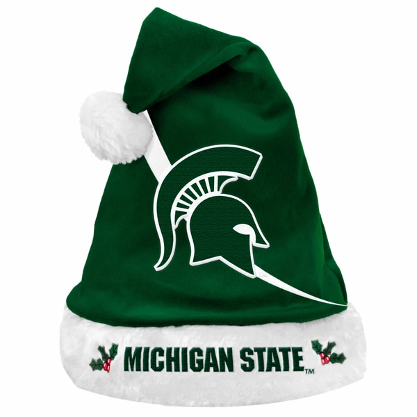 Forever Collectibles NCAA Michigan State Spartans Polyester Swoop Santa Hat