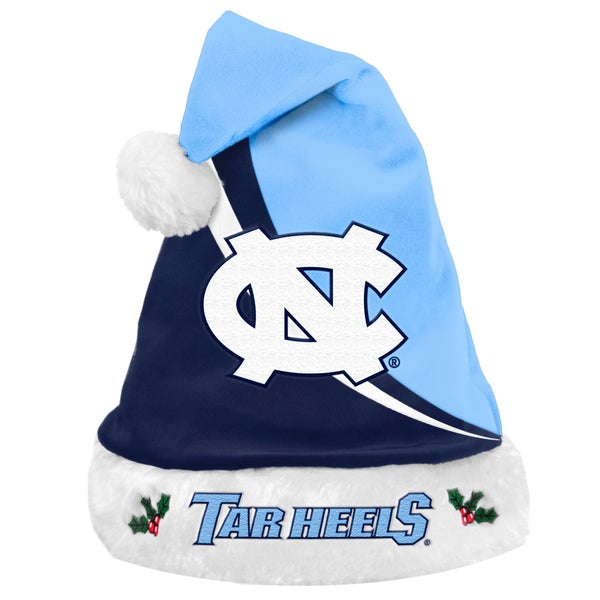 Forever Collectibles NCAA North Carolina Tarheels Polyester Swoop Santa Hat