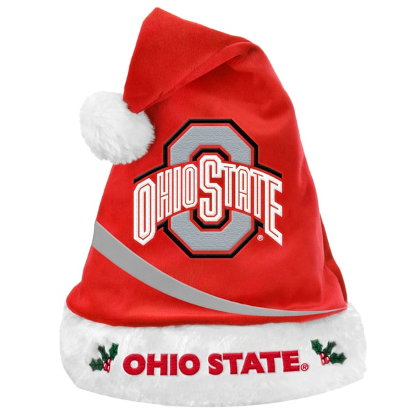 Forever Collectibles NCAA Ohio State Buckeyes Polyester Swoop Santa Hat