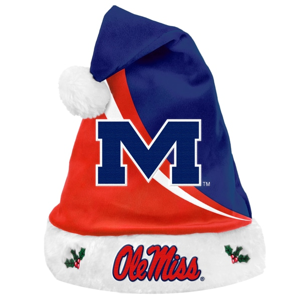 Forever Collectibles NCAA Ole Miss Runnin Rebels Polyester Swoop Santa Hat
