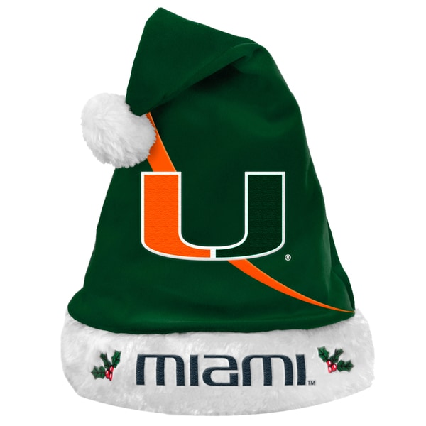 Forever Collectibles NCAA Miami Hurricanes Polyester Swoop Santa Hat