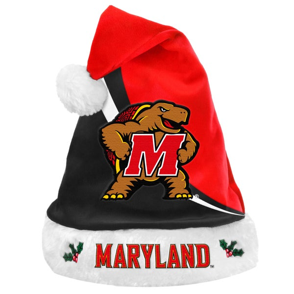 Forever Collectibles NCAA Maryland Terrapins Polyester Swoop Santa Hat