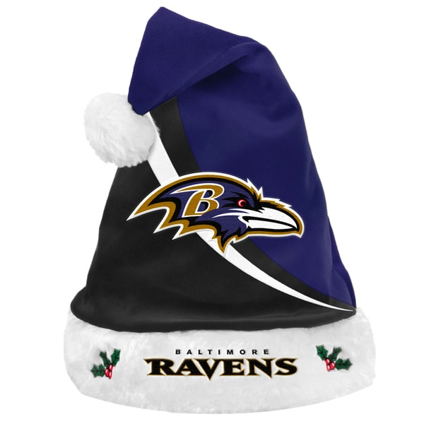 Forever Collectibles NFL Baltimore Ravens Polyester Swoop Santa Hat
