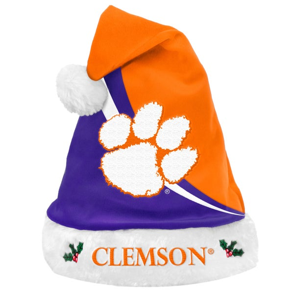 Forever Collectibles NCAA Clemson Tigers Polyester Swoop Santa Hat