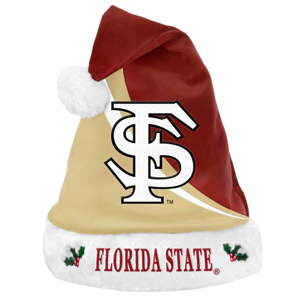 Forever Collectibles NCAA Florida State Seminoles Polyester Swoop Santa Hat