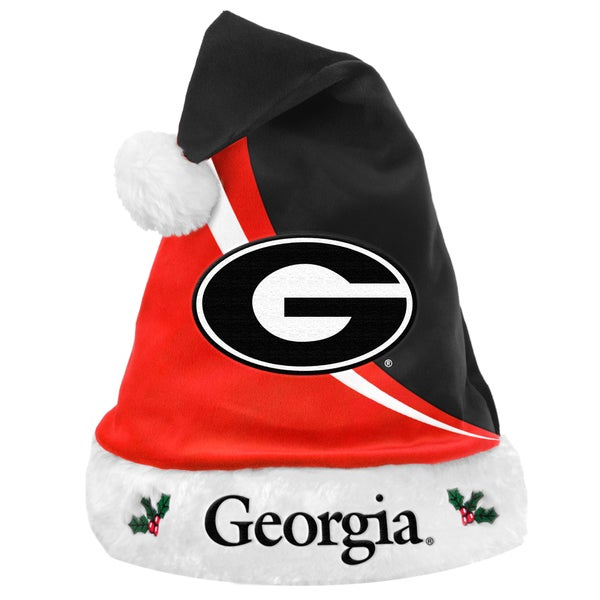 Forever Collectibles NCAA Georgia Bulldogs Polyester Swoop Santa Hat