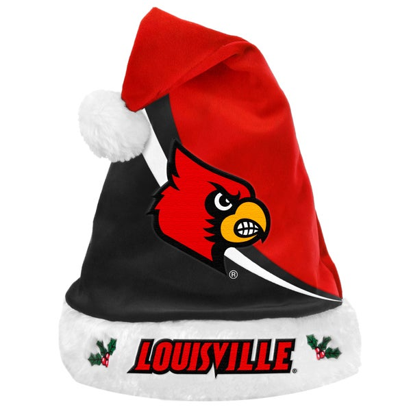 Forever Collectibles NCAA Louisville Cardinals Polyester Swoop Santa Hat