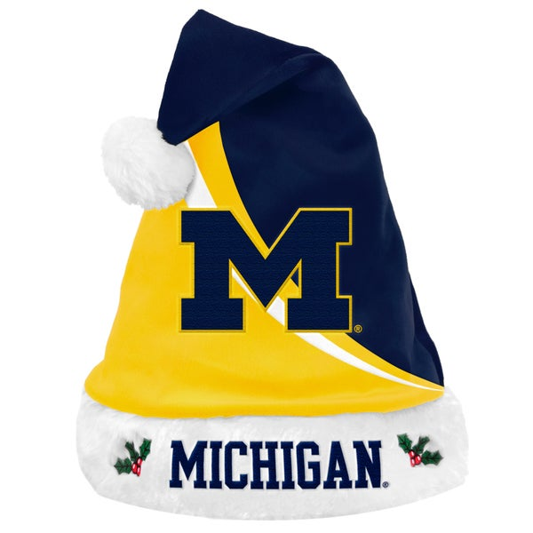 Forever Collectibles NCAA Michigan Wolverines Polyester Swoop Santa Hat