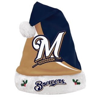Forever Collectibles MLB Milwaukee Brewers Polyester Swoop Santa Hat