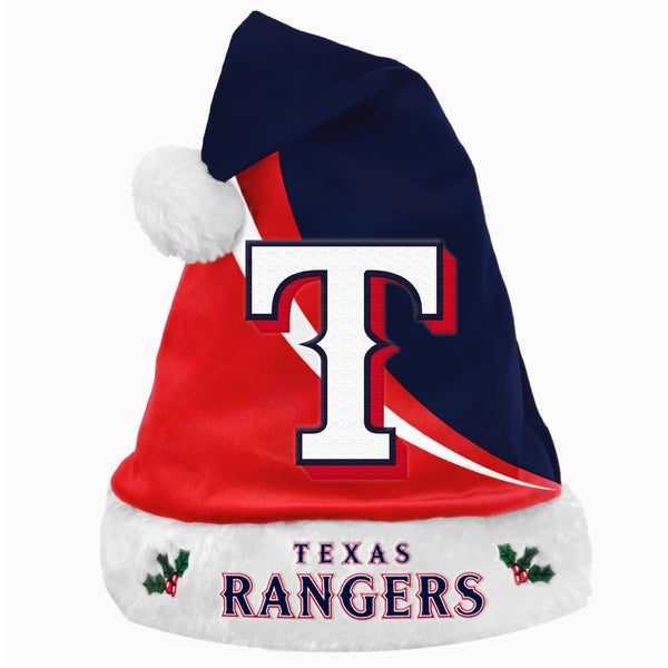 Forever Collectibles MLB Texas Rangers Polyester Swoop Santa Hat