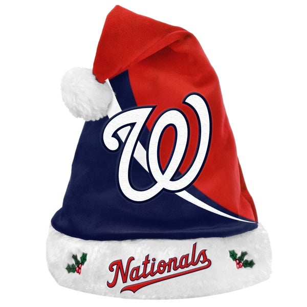 Forever Collectibles MLB Washington Nationals Polyester Swoop Santa Hat