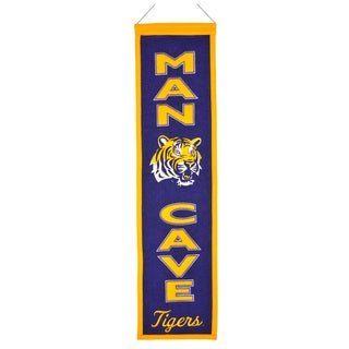 NCAA LSU Tigers Wool Man Cave Embroidered Banner