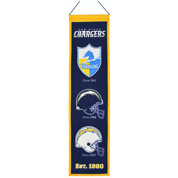 NFL San Diego Chargers Wool Heritage Banner