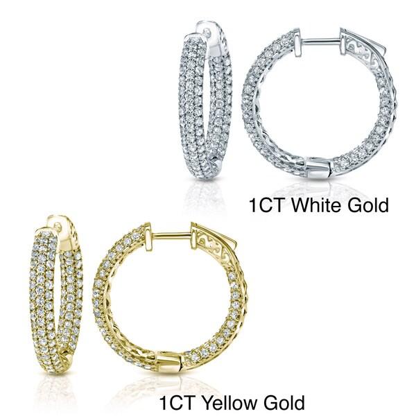 Auriya 14k Gold Small To Large Pave Diamond Hoop Earrings