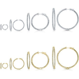 Auriya 14k Gold Small to Large Inside Out Diamond Hoop Earrings (H-I, SI1-SI2)