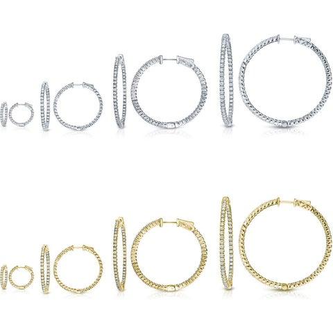 Auriya 14k Gold Small to Large Inside Out Diamond Hoop Earrings