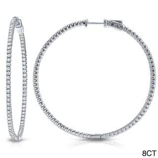 Auriya 14k Gold 3ct to 8ct TDW 50mm Diamond Hoop Earrings (J-K, I2-I3)