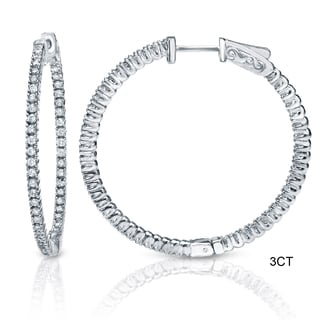 Auriya 14k Gold 3ct to 8ct TDW 50mm Diamond Hoop Earrings (H-I, SI1-SI2)