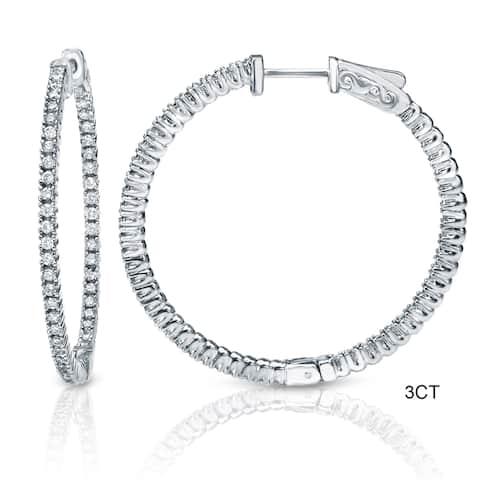 Auriya 14k Gold 3ct to 8ctw Large Diamond Hoop Earrings 50 mm (1.96-inch)