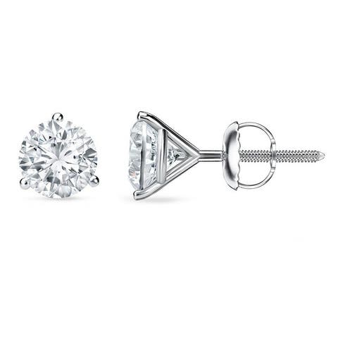526152a1e Auriya 1 to 2 carat TW 3-Prong Martini Round Solitaire Diamond Stud Earrings  18K