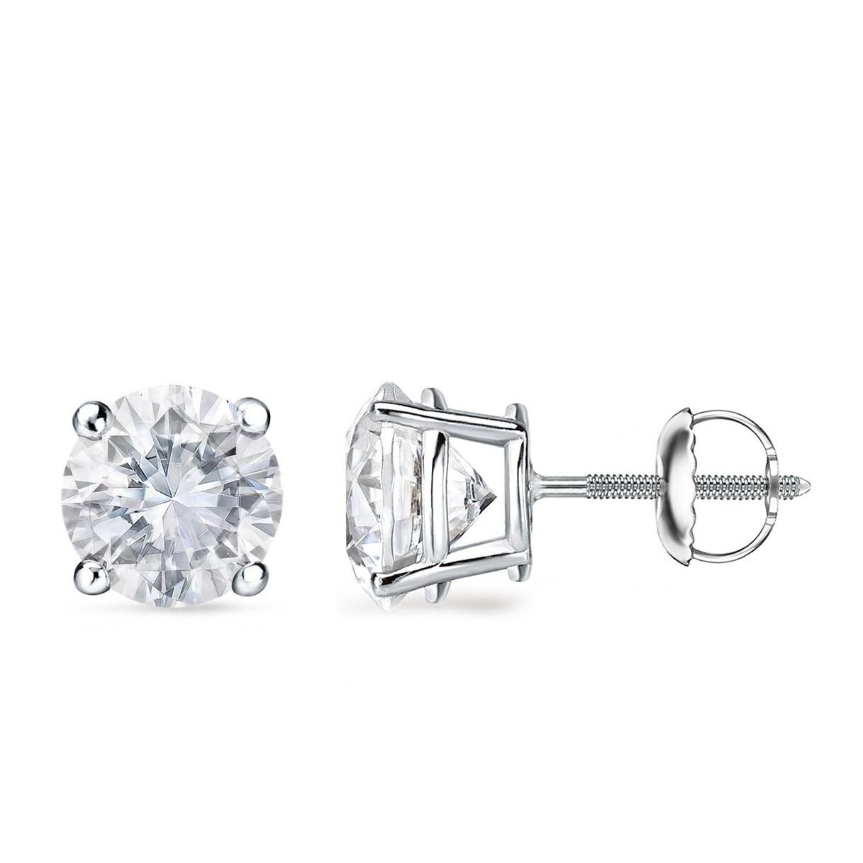 Auriya 1 To 2ctw Round Diamond Stud Earrings Platinum Certified Overstock 8553525