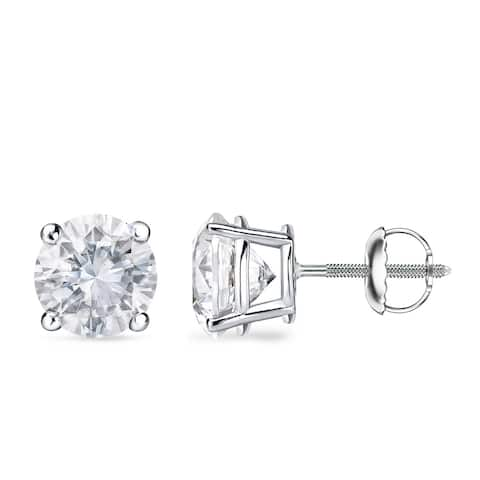 Auriya Platinum 1 to 2 carat TW Round Solitaire Diamond Stud Earrings GIA Certified - F-G, VS1-VS2