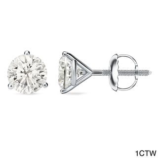 Auriya 18k Gold 1ct to 2ct TDW Certified Martini Diamond Stud Earrings (J-K, I1-I2)